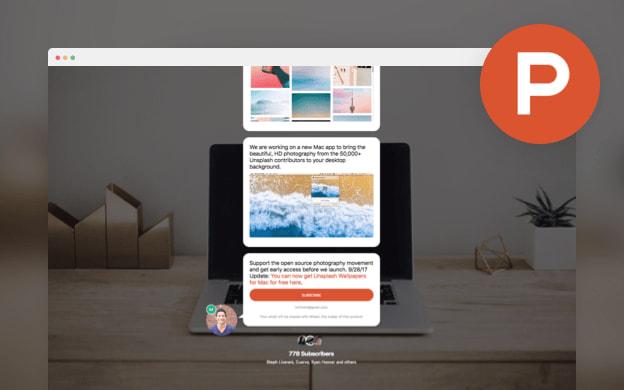 Unsplash API partner preview for Product Hunt