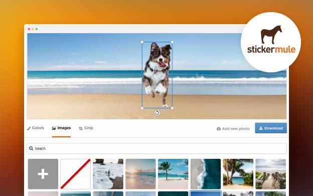 Unsplash API partner preview for Sticker Mule