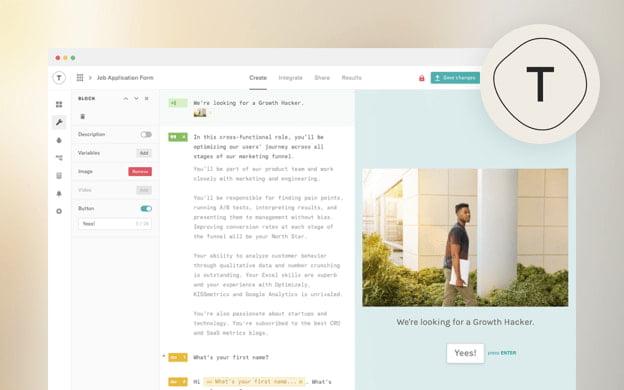 Unsplash API partner preview for Typeform
