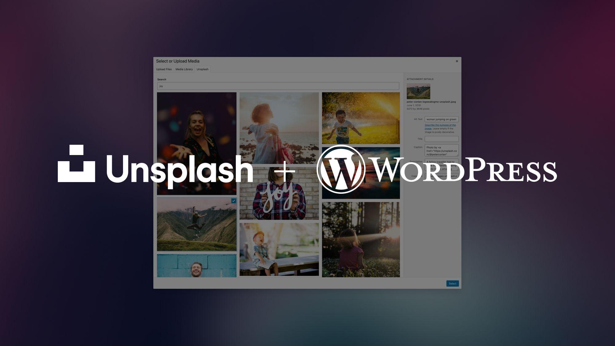 Unsplash logo + Wordpress logo