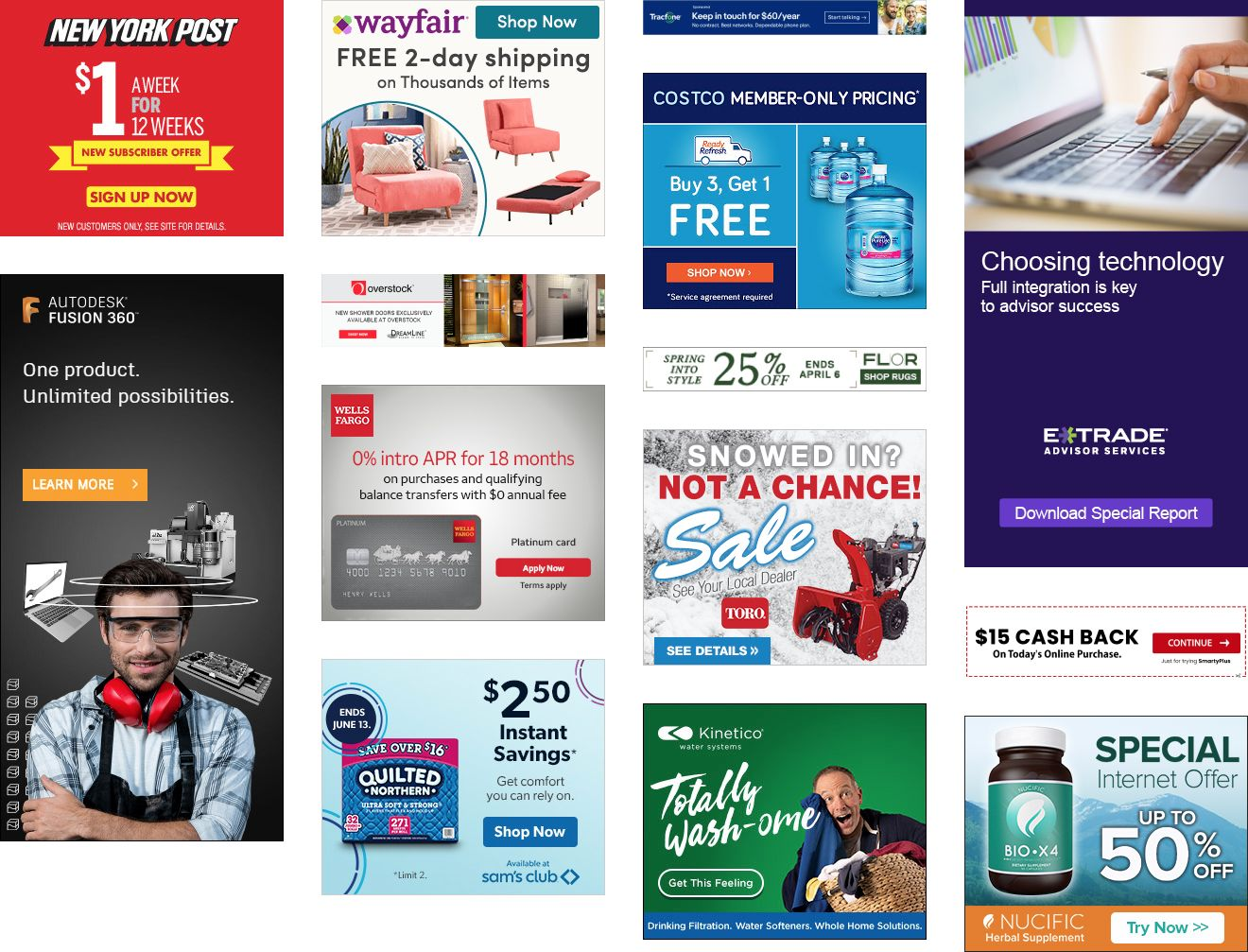 Examples of ads that are often found on websites. They are generally busy and information dens
